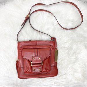 Franco Sarto Red Leather Crossbody Purse Small